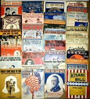 LOT of 34 Pieces USA Military Patriotic Large Format Sheet Music WWI Soldier Vtg