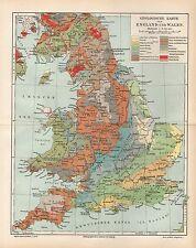 England und Wales Geologische Karte von 1894  Geologie