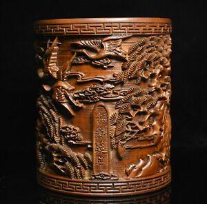 Chinese Boxwood wood Carved Longevity Crane Pine Statue Brush Pot Pencil Vase