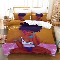 3D Print African Girl Art Bedding Set Duvet Cover and Pillowcase Twin Full Queen