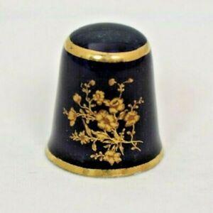 Limoges Blue Cobalt & Gold Cherry Blossom Souvenir Thimble - Porcelain (France)