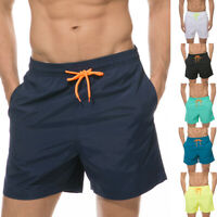 Mens Swimming Board Shorts Swim Trunks Swimwear Solid Casual with Lining Pockets