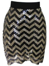 NWT Michael Kors Chevron Black and Gold Sequin Skirt Size S