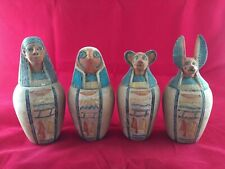 Rare original Ancient Egyptian Antiques 4 Canopic Jars ( 990–969 Bce)