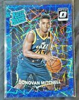 2017-18 Panini Donruss Optic #188 DONOVAN MITCHELL Blue Velocity RC Rookie Jazz