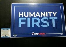 Andrew Yang Humanity First Signed Placard President 2020 Beckett