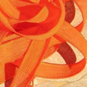 Hand Dyed Silk Ribbons, Orange Qty 5 JamnGlass, Hand Made Crinkle Silk Strings