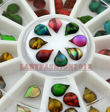 60Pcs Colorful Flame Stone Drop Shape Acrylic Nail Art Decoration Phone Tips
