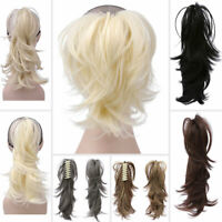 Lady Ponytail Clip In Hair Extension Claw Pony Tail Clip On Hairpiece Curly Wavy