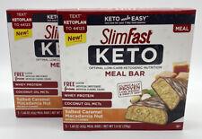 10 SlimFast Keto Meal Bars Salted Caramel Macadamia Nut 2 Boxes 3 Net Carb NIP