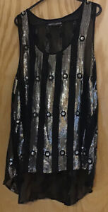 River Island Ladies Black And Gold Sequin Accent Vest Size 18