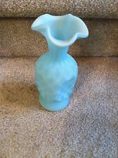 Fenton Blue Satin Diamond Optic Pinched Side Vase 1950s 7 1/2 Inches Tall
