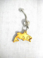 NEW BIG MOUTH BASS FISH PROFILE FISHING FUN WOOD CHARM CLEAR CZ 14g BELLY RING