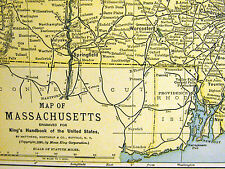 Map of MASSACHUSETTS from the King's Handbook of the U.S. 1892 Matted