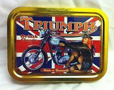 Bonneville Motorcycle British Flag Pin up Girl Cigarette Tobacco Storage 2oz Tin