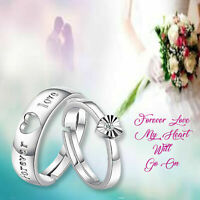 Elegant Couple Wedding 2 Rings Forever Love Heart CZ 925 Sterling Silver Plated