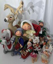 """12PC Vintage-Now Annalee Doll LOT Santa Christmas 26"""" Reindeer Pixie Angel Elf"""