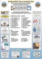 Teamsheet - Huddersfield Town Reserves v Burnley Reserves 2000/1