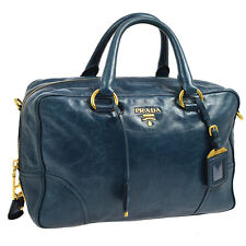 Authentic PRADA Logos Hand Tote Bag Purse Navy Blue Gold Leather AK15830