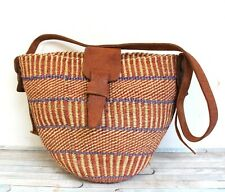 ARTISAN LARGE VINTAGE BRAIDED JUTE BROWN LEATHER MARKET BEACH TOTE SHOULDER BAG