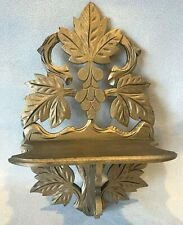 Antique Victorian Carved Walnut Wall Hanging Knack Knack Lamp Shelf Gold Painted