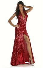Sexy Abendkleid silber Gr.36-38 Gala Kleid Pailetten Handmade in USA