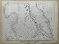1848 NUBIA & ABYSSINIA LARGE HAND COLOURED MAP BY J.W LOWRY 172 YEARS OLD