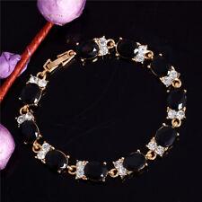 18K GOLD EP 8 CT DIAMOND SIMULATED BLACK SAPPHIRE TENNIS LINK BRACELET