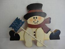 "Wooden Shelf Sitting Snowman 8"" x 10"" Let it Snow Holiday Shelf Sitter Hoy-Man"
