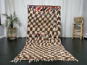 Handmade Moroccan Beni Ourain Rug 3'8x7'5 Berber Checkered Wool Brown Carpet