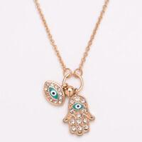 Hamsa Hand of Fatima Amulets Nazar Turkish Blue Eye Necklace Pendant Necklace