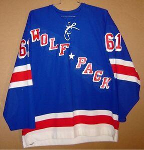 HARTFORD WOLF PACK Blue #61 BEN NELSON AHL Hockey GAME Size 56 JERSEY