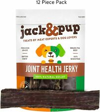 """Jack & Pup 12"""" Joint Health Jerky Sticks 24 count Beef Gullet Dog Treats Chews"""