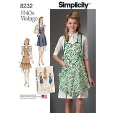 SIMPLICITY SEWING PATTERN MISSES' VINTAGE 1940s APRONS SIZE S - L 8232