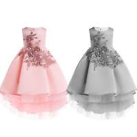 Kids Girls Ball Gown Flower Tutu Dress Wedding Princess Bridesmaid Prom Birthday