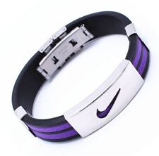Purple Stainless Steel Nike Sports Silicone Wristband Braceletwhite