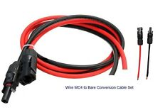 One Pair Bare Cable Wire Male & Female MC4 Connectors Red & Black 3.5FT