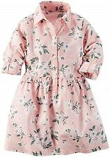 NWT Carters Girl Pink Floral Button Down 3/4 Sleeve Spring Summer Dress 5 5T