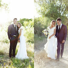 White/Ivory Lace Wedding Dress Bridal Gown Custom Size 4 6 8 10 12 14 16 18 20 +