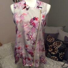 CALVIN KLEIN Womens Size S Sleeveless Vneck Floral Print  Top