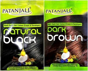Patanjali Kesh Kanti Hair Colour Cream Developer Natural Black / Dark Brown Amla