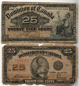 Dominion of Canada 1900 1923 25 Cents Shinplaster Lot of 2 Notes G/VG