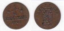 Cu 1/4 Kreuer 1827 für Oberhessen Hanau Fulda Hessen-Kassel AKS 38 Jg. 25