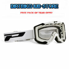 PROGRIP 3400 2017 MENACE MOTOCROSS MX GOGGLES WHITE WITH TEAR OFFS