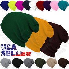 Beanie Cap Plain Knit Hat Winter Solid Warm Cuff Slouchy Skull Ski Mens Womens