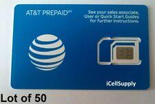 Lot Of 50 Brand New At&T Prepaid At&T / Att 4G Lte Triple Sim Card 3 In 1