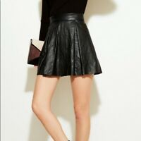 Reformation Pebble Black Leather Pleated Mini Skirt Size S Small Womens Zip