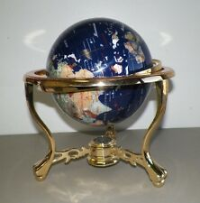 LAPIS & BRASS GEMSTONE GLOBE WITH COMPASS ON BOTTOM GOOD CONDITION