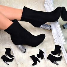 Womens Ankle Boots Block High Heel Suede Ladies Glitter High Top Booties Size