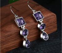Silver 925 Drop Earrings For Women Elegant Amethyst Dangle Earrings